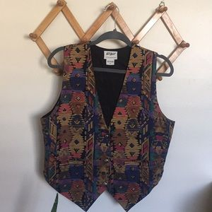 VINTAGE 1992 Graphic Print Button Closure Vest Med
